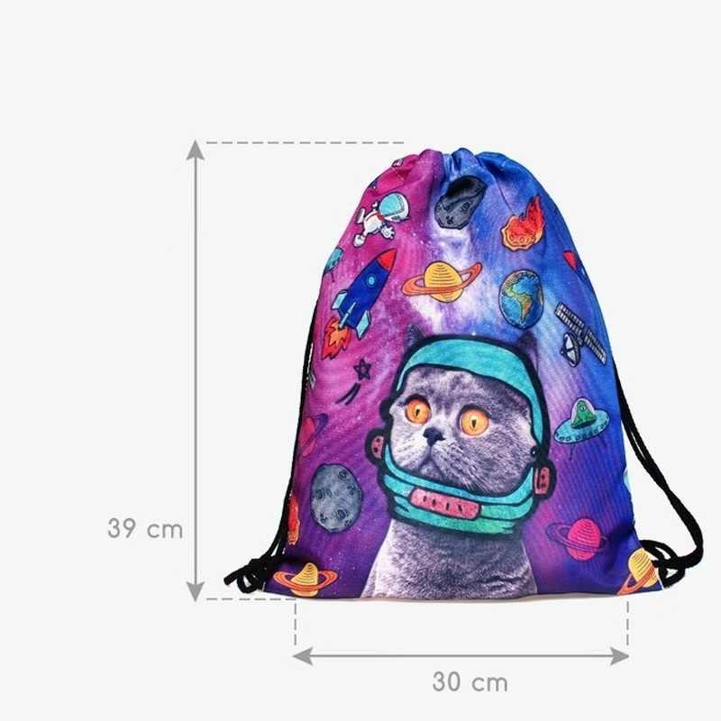 1 sztuk 3D Galaxy Cat torba ze sznurkiem w motywem kosmosu Unisex przenośne podróże na zakupy, podczas aktywności na świeżym powietrzu torby moda plecaki dla kobiet mężczyzn