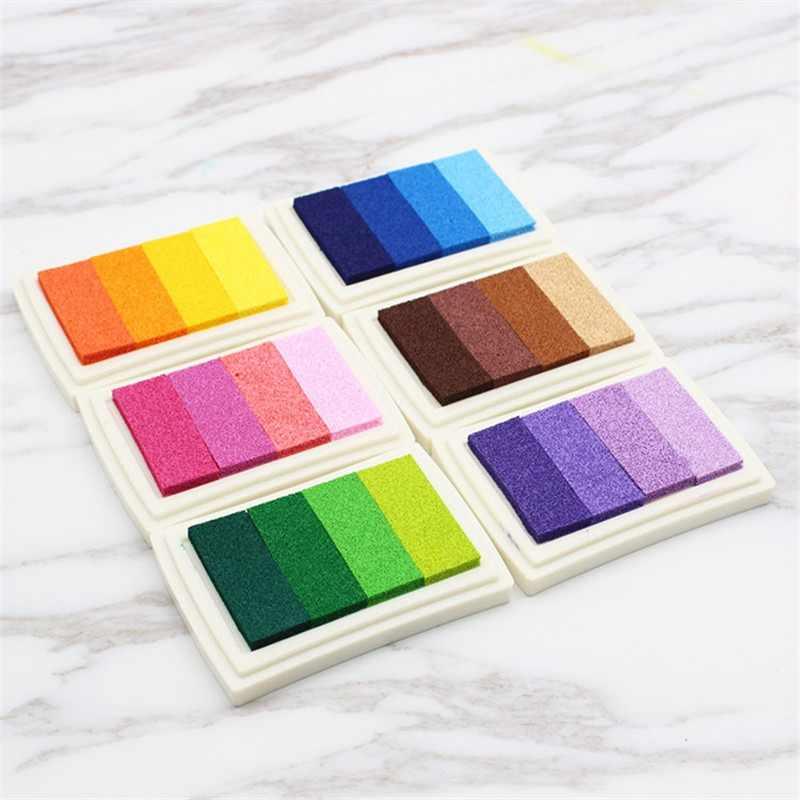 4 สี Gradient ลายนิ้วมือ Inkpad แสตมป์ซีลตกแต่ง Scrapbooking ภาพวาดการ์ดทำหัตถกรรม DIY Seal Ink Pad