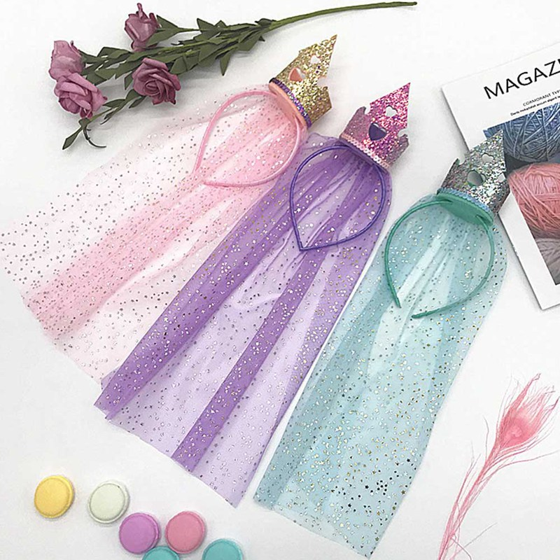 Girls Fancy Dress Accessories Snow Queen Tiara Crown Kids Gift Princess Costume Cos-play Crown Hair Clip 2019