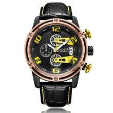 MEGIR Sport Watch Men Leather Strap Creative Quartz Watches Clock Men Military Wristwatch Chronograph Reloj Hombre Montre Homme men quartz watch chronograph leather strap luminous waterproof wristwatch sport clock 17 lxh
