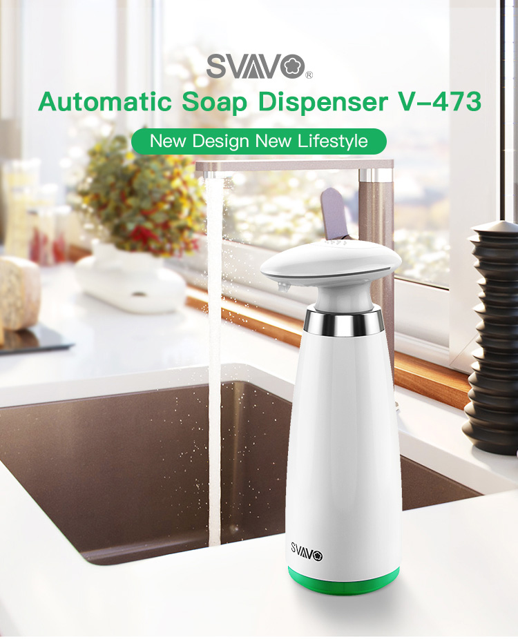 H13b617bcead54a2e857cf966d94f9d92I 350ml Automatic Soap Dispenser Hand Free Touchless Sanitizer Bathroom Dispenser Smart Sensor Liquid Soap Dispenser for Kitchen