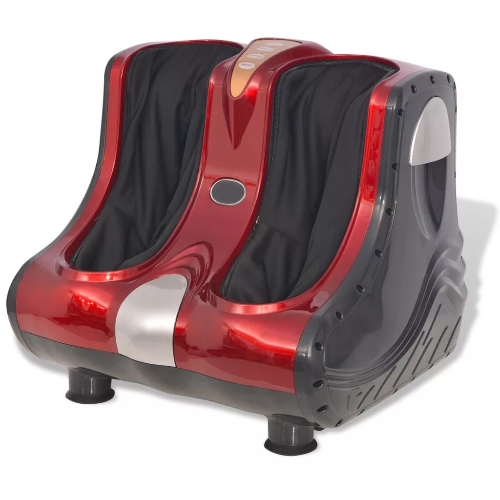 VidaXL Shiatsu Massage Device Red Feet And Calves Shiatsu Kneading Rolling And Heating Function Massage Device