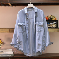 XL 5XL Plus Size Women Denim Shirt Autumn 2019 Fashion Long Sleeve Blouse Side with Lace up Loose Casual Ladies Tops Blue