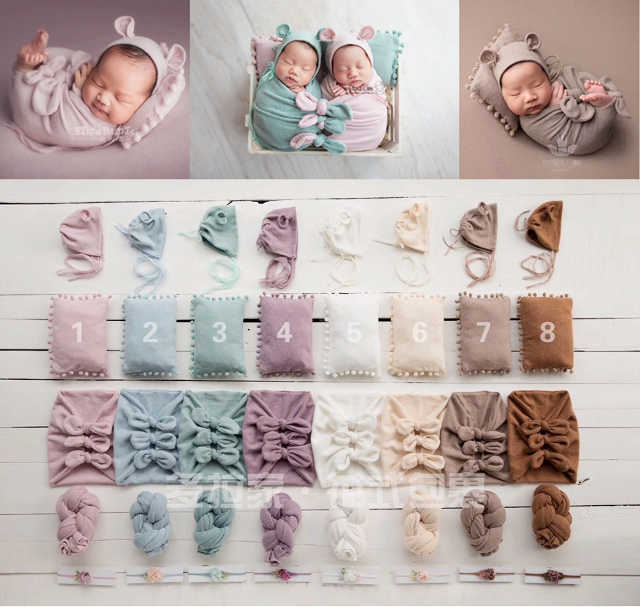 5pcs/set Soft Newborn Props For Photography Wrap Set ,Cute Baby Wrap For Photo Studio,#P2480
