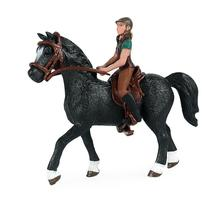 Static Three-dimensional Animal Model Horse + Rider Riding Horse Figurine Horse Rider Action Figures Model Doll Figures Toy Kids