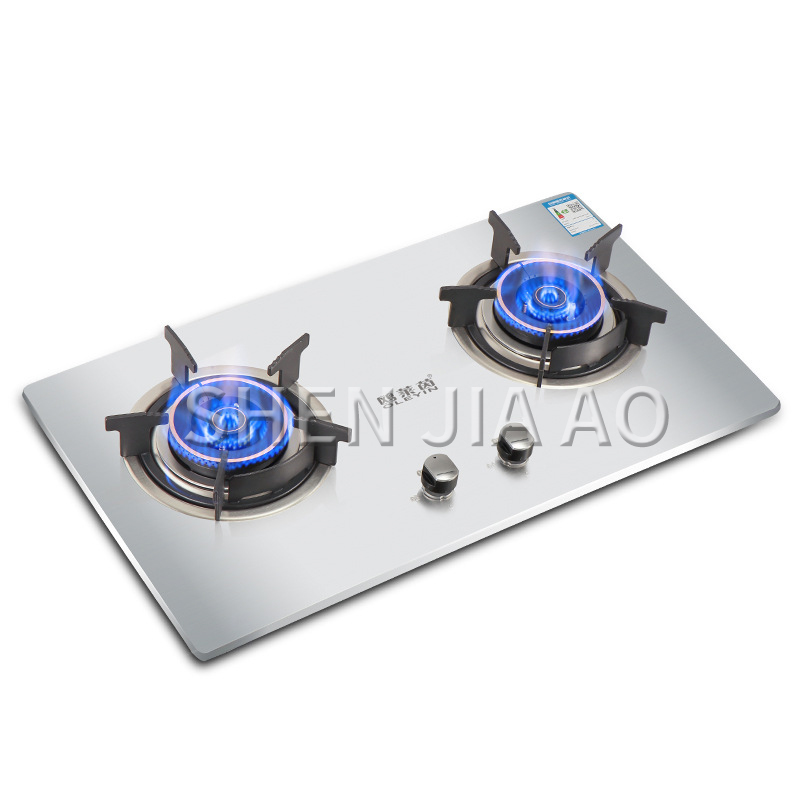 Desktop natural gas liquefied gas stove embedded dual purpose gas stove Thick stainless steel brushed panel Kitchen stove|Cooktops| |  - title=