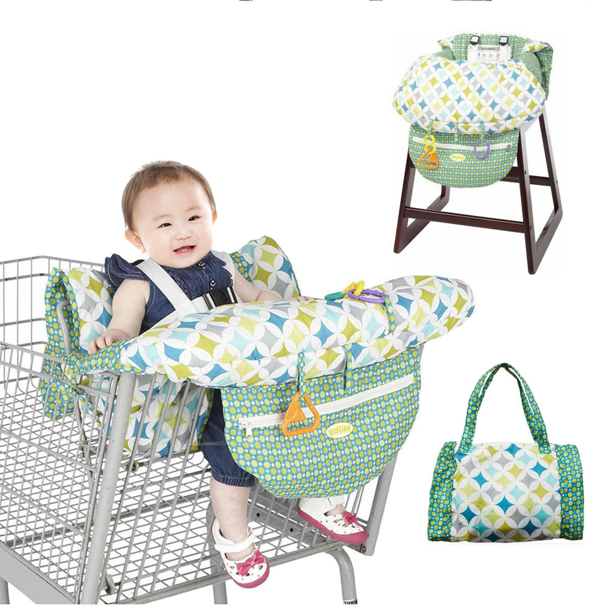 Baby Shopping Cart Cover Multifunctional Folding Baby Shopping Push Cart Protection High Chair Cover Safety Seats For Kids