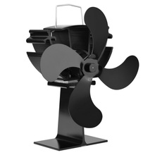 New 4 Blades Fireplace Fan Black Heat Powered Stove Fan Log Wood Burner Eco Friendly Quiet Fan Home Efficient Heat Distribution