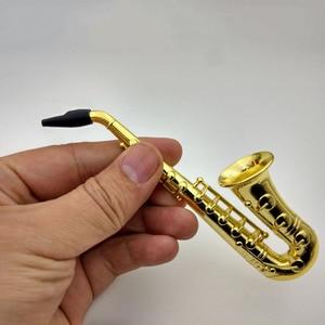 Creative Saxophone Mini Portable Smoking Pipes Metal Tobacco Pipe Hookah Gifts Filter Cigarette Holder
