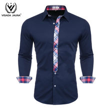 VISADA JUANA 2019 Men's Shirts Easy-care Men's Casual Shirts Long Sleeve Dress Shirts Camisa Masculina(China)