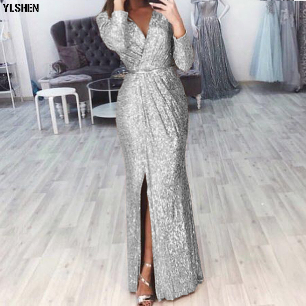 Evening Party African Dresses for Women Plus Size Glitter Long Sleeve Peplum Vestidos Africa Clothing Maxi Dress Elegant Clothes