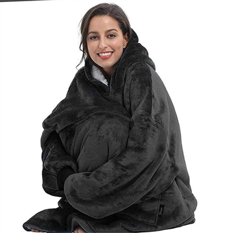Большие толстовки с капюшоном, женские зимние толстовки, флисовое гигантское ТВ одеяло с рукавами, пуловер, большой размер, женский халат с ...