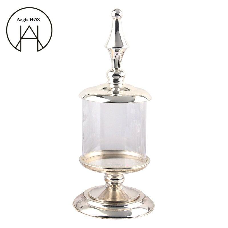 50 cm haute en verre bocal de bonbons Européenne de haute qualité en métal de stockage peut de mariage banquet décoration de table contenant de stockage de la nourriture bouteille
