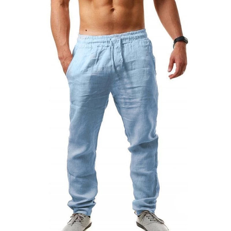 Брюки мужские из хлопка и льна, повседневные однотонные прямые свободные брюки с эластичным поясом, лето