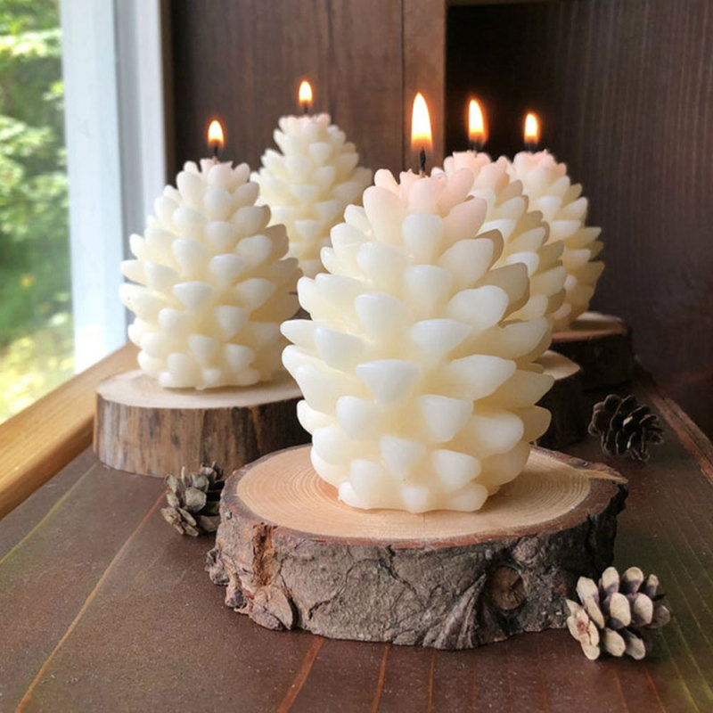 VOGVIGO 2021 3D Pine Cone Silicone Candle Mold DIY Handmade Aromatherapy Candles Beeswax Pinecone Christmas Candle Making Mould