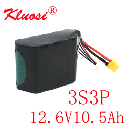 KLUOSI 3S3P 12V/12.6V 10.5Ah High Power UAV 12V Lithium Battery 18650GA Combination Suitable for Parrot Disco Various Drones
