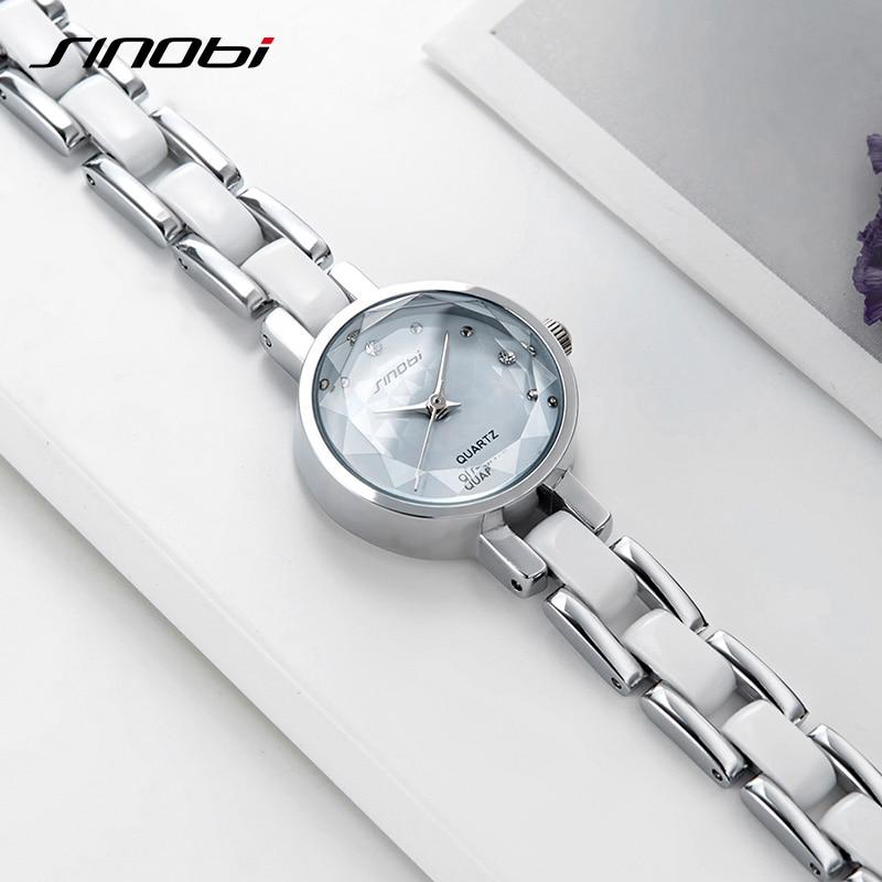 SINOBI New Ladies Watch Flower Printed Women Watches Diamond Black Small Dial Bracelet Elegant Japan Quartz Watches Female Gift