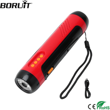 BORUiT alarme vocale multifonctionnelle, lampe de poche FM, Dynamo alimenté torche LED et 1800mAh batterie externe, pour voyageur