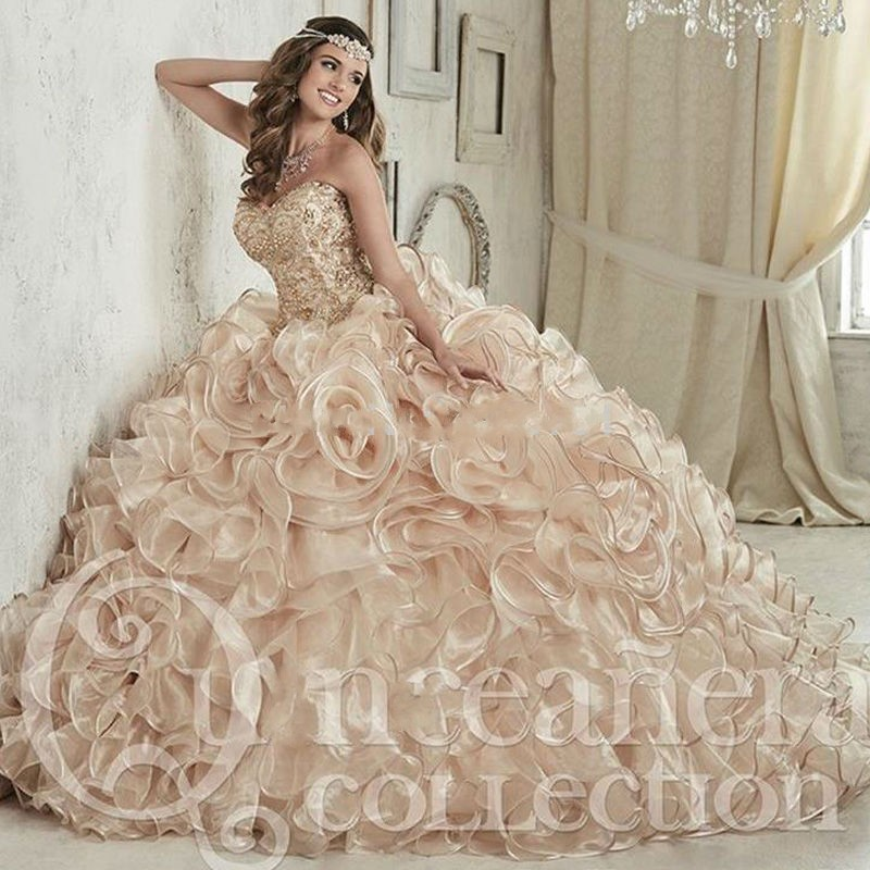 Luxurious Champagne Crystals Ball Gown Quinceanera <font><b>Dresses</b></font> Floor Length Vestidos De 15 Anos <font><b>Sweet</b></font> <font><b>16</b></font> <font><b>Dress</b></font> image