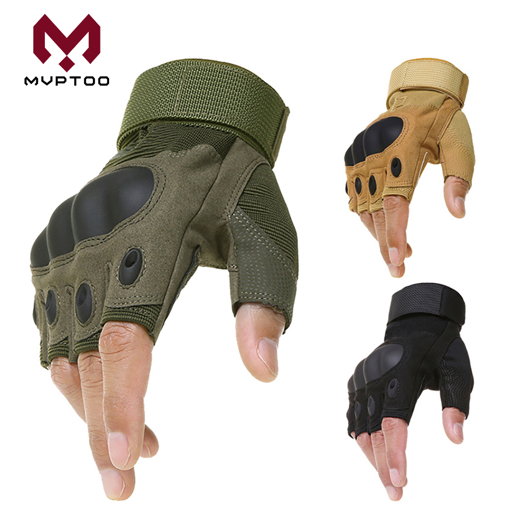 Motorcycle Half Finger Gloves Military Moto Motocross Motorbike Cycling Protective Gear Skidproof Hard Knuckle Fingerless Glove