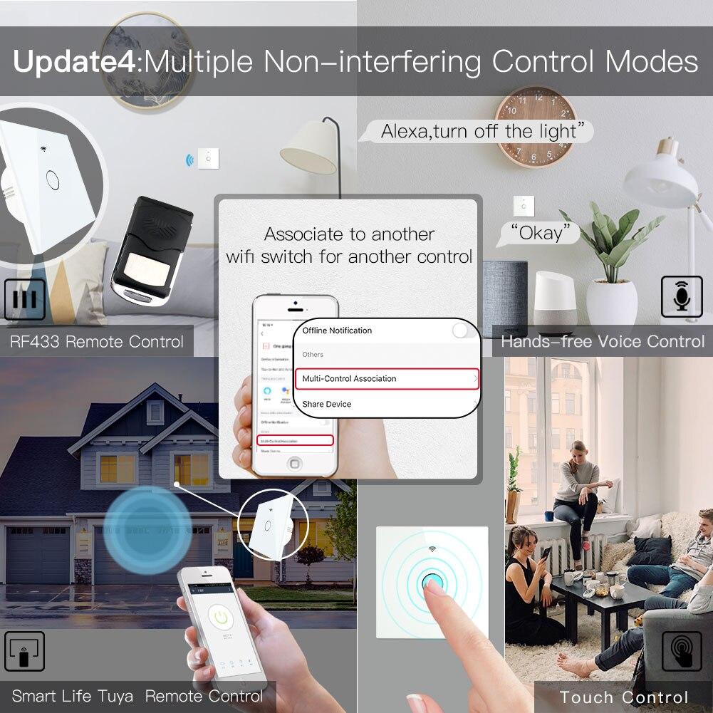 New WiFi Smart Light Touch Switch RF433 Smart Life/Tuya App Control,Alexa Google Home Voice Control 1/2/3 Gang EU US 2/3 Way