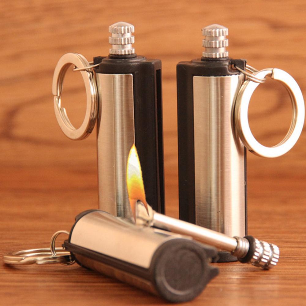 Steel Fire Starter Flint Match Lighter Keychain Camping Emergency Survival Gear