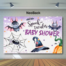 NeoBack Baby Shower Backdrop Spook Tacular Bat Spider Web Photography Backdrops Pumpkin Background