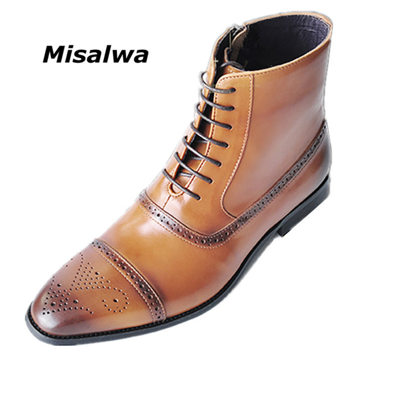 Misalwa Men's Handcrafted Leather Brogue Boots Big Size 39-47 High Top Ankle Boots For Man Brown Zip Wipe The Color Oxford Boots