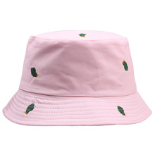 New Embroidered Green Cactus Bucket Hats Women Boonie