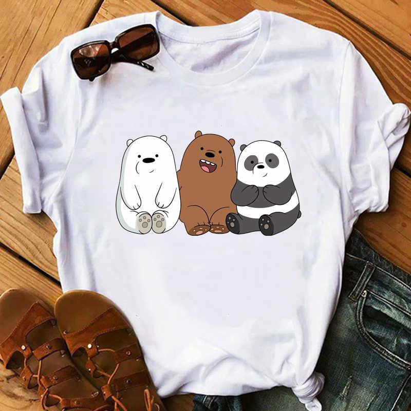 2020 동물 프린트 티셔츠 Camiseta Mujer Vogue Tshirt 탑 베어 베어 재미 T 셔츠 여성 의류 커플 의류
