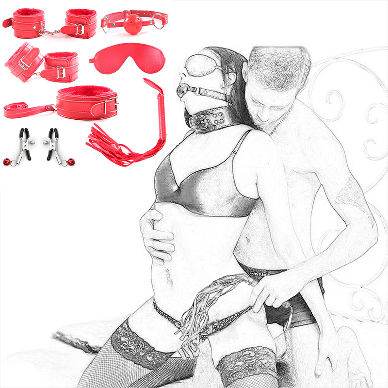 7 Pcs/set BDSM Sex Bondage Set Erotic Sexual Toys For Sex Adult Games Handcuffs Nipple Clamps Mask Gag Whip Sex Toys For Couples