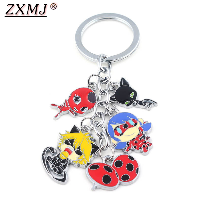 ZXMJ Anime Ladybug Girl Doll Keychain Keyring Figures Group Black Cat Noir Ladybird Car Pendant Chaveiro For Girl Kid Gift