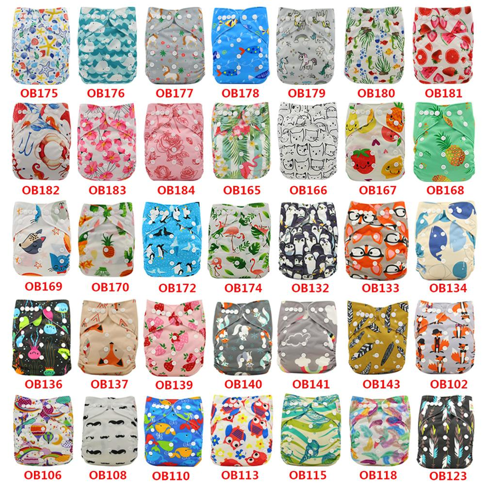 Ohbabyka Wholesale Baby Cloth Diaper Cartoon Print Snaps Adjustable Baby Nappy Changing Baby Shower Pocket Diaper Reusable Nappy