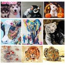 GATYZTORY çerçevesiz kedi aslan hayvanlar sayılar kitleri tarafından DIY boyama boyama By Numbers benzersiz hediye ev duvar sanat dekoru sanat
