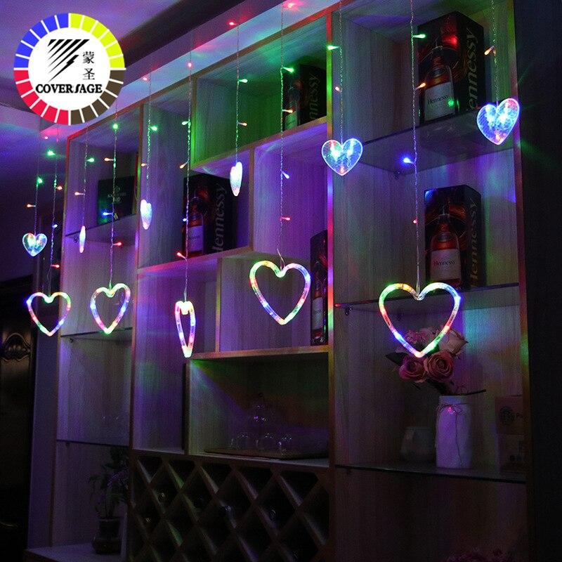 Coversage Christmas Heart Fairy String Lights Curtain Girnaldas Luces Navidad Led Tree Decoration Garden Indoor Decorative