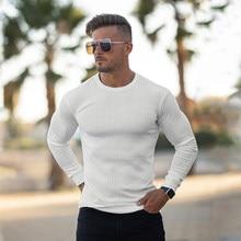 Chandails fins à manches longues pour homme, col rond, couleur unie, Slim Fit, en tricot, nouvelle collection automne