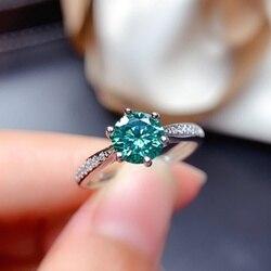 Bague Moissanite bleu vert 1CT 6.5MM diamant de laboratoire VVS avec Certififcate Test de bijoux fins passé véritable argent Sterling S925