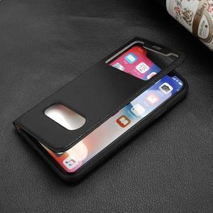 Image 4 - Echt Leer Case Voor Iphone 7 8 Plus Case Voor Xs Max Cover Window View Bescherming Coque Voor Iphone X xr Se 2020 Gevallen Fundas
