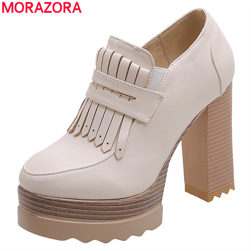 MORAZORA 2020 Plus size 34-42 New women pumps round toe platform shos woman tassel thick high heels ladies casual dress shoes