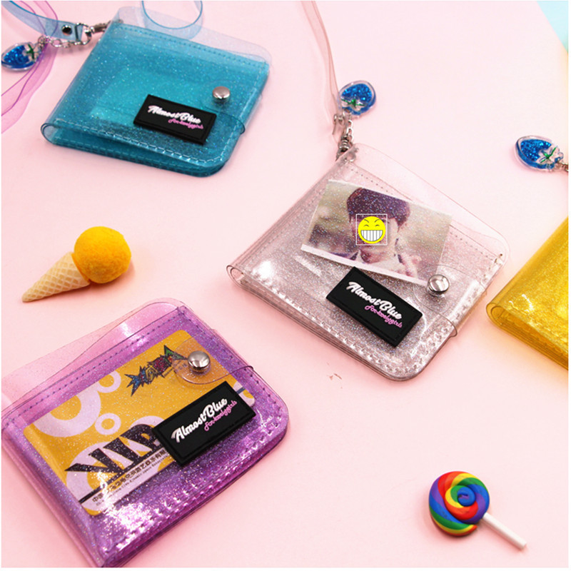 2019 New Transparent ID Card Holder Folding Short Wallet Fashion Women Girl Business Cards Case Purse With Lanyard