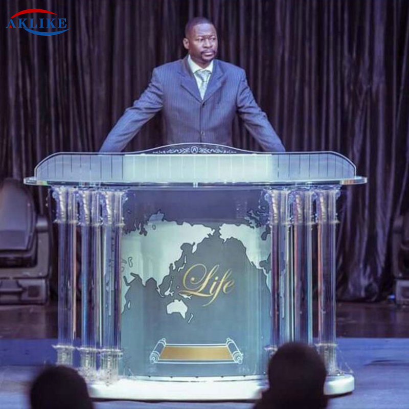 Plexiglass Glass Podium Modern Church Pulpit AKLIKE Commercial  Furniture ACRYLIC Rostrum Acrylic Table Podiums Light