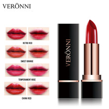 VERONNI Lipstick Matte Waterproof Velvet Lip Stick 4 Colors Sexy Red Brown Pigments Makeup Lipsticks Beauty Lips