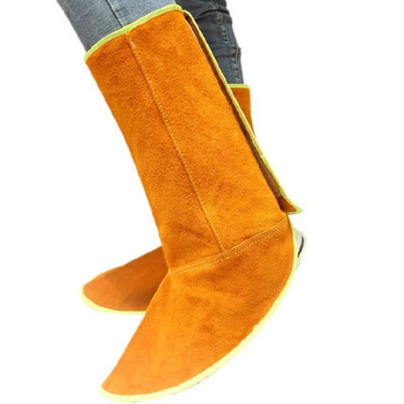 ריתוך בטיחות רגל רגל הגנת עור פרה עור חסין אש חום מבודד ללבוש עמיד עם גומייה
