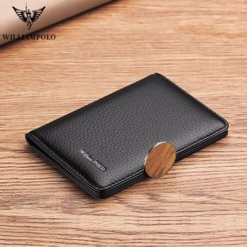 WILLIAMPOLO  wallet Men slim Travel Genuine Leather Luxury Brand Credit Card Holder thin wallets new fashion