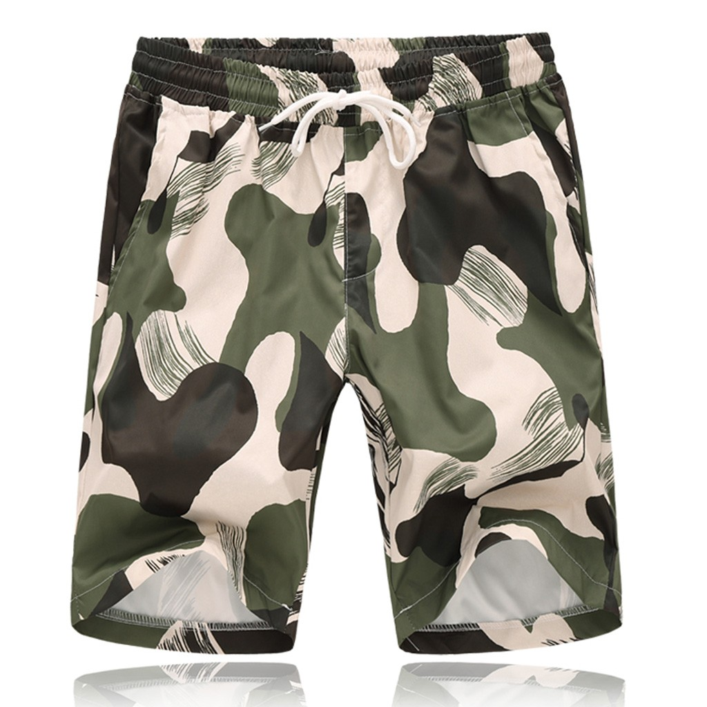 Fashion Camouflage Men Short Casual Streetwear Homme Printed Mens Shorts Strapped Beach Fit Summer Sport Casual Cotton Pant Ropa