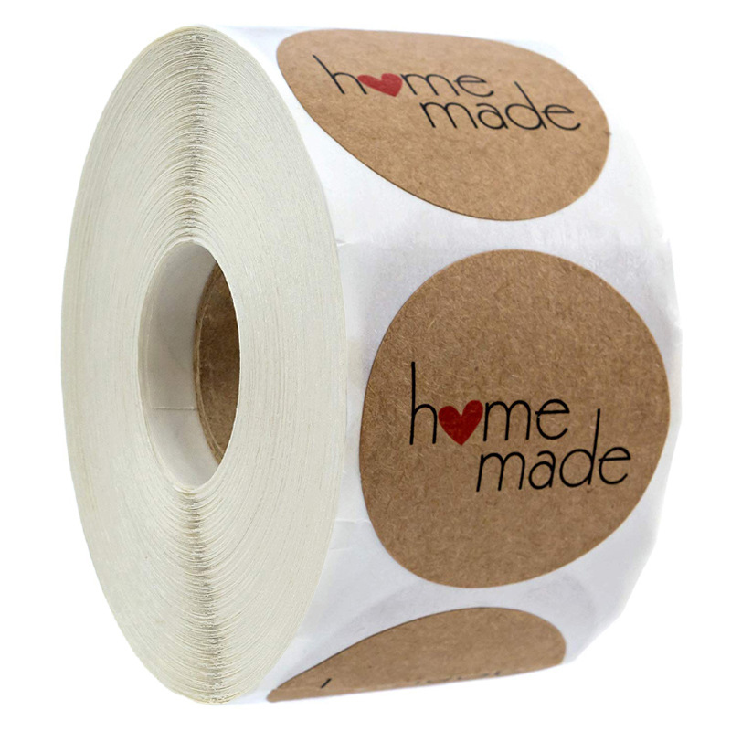 500 Pcs/Roll Hand Made Sticker Round Kraft Label Adhesive Stickers For Gifts Decorative Supplies