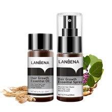 Lanbena rápido poderoso crescimento do cabelo essência + spray prevenção calvície consolidando anti perda de cabelo nutrir raízes cuidados com o cabelo 2pcs