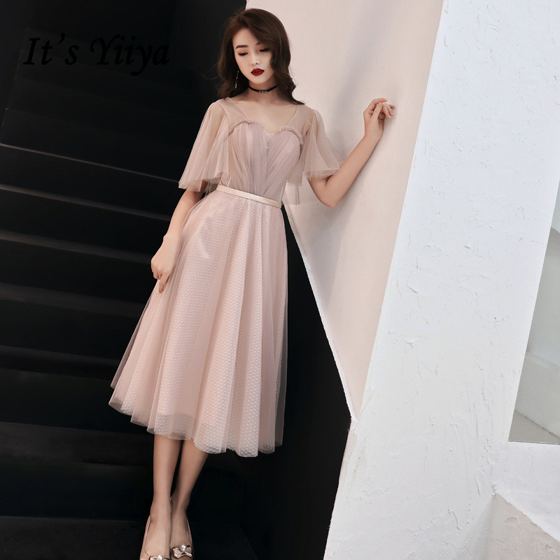 Formal Evening Dresses It's Yiiya R219 Short Sleeve A-Line Elegant Women Party Gowns Plus Size Tulle Eveining Dress Vestidos