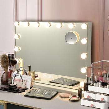 Hollywood Vanity Lighted Mirror Touch Control Magnification Bluetooth Speaker HB86948US 1