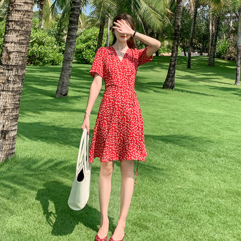 Mini Floral Print Red Chiffon Dress Summer Women Cute Party Night Dress Short Bohemian Tropical Vacation Beach Dress Runway 2020 mini floral print red chiffon dress summer women cute party night dress short bohemian tropical vacation beach dress runway 2020